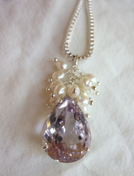 19MM X 14MM pear cut 16.88 CT rose de france amethyst pearl sterling silver pendant with 22 inch box link sterling chain