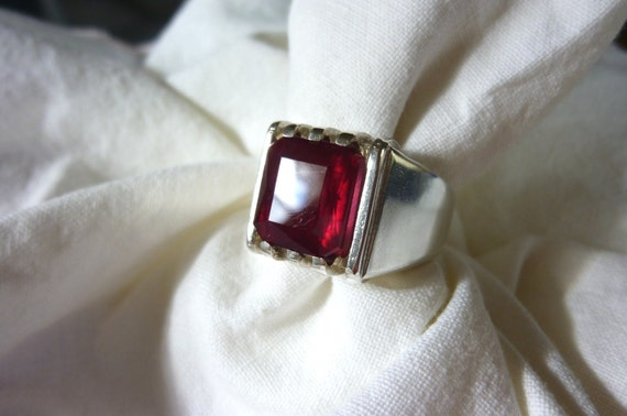 RESERVED for JOHN 12mm X 10mm emerald cut 7.75 CT madagascar ruby sterling silver mans ring size 10 1/2