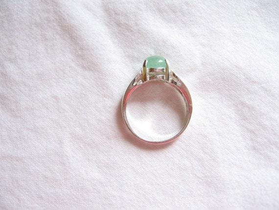 GREEN JADE 8MM ROUND CABOCHON STERLING SILVER RING SIZE 6 3\/4