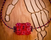 Red Beaded Bead Necklace