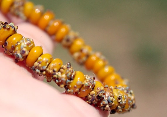 DOUBLE SALE! HAPPY 2014! 50 Itsy Bitsy lampwork spacer beads- Mustard and Raku