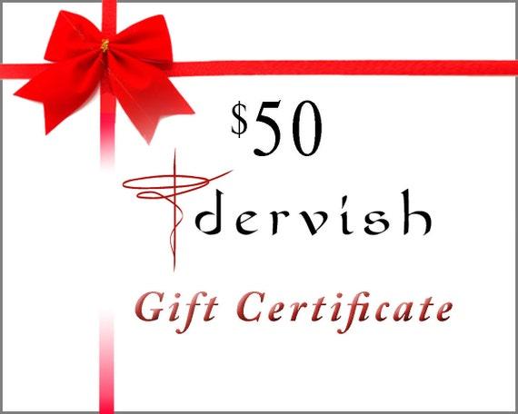 Dervish Clothing 50 Dollar Gift Certificate