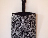 Auto Trash - Car Litter Bag - Michael Miller Eiffel Tower - Black and White