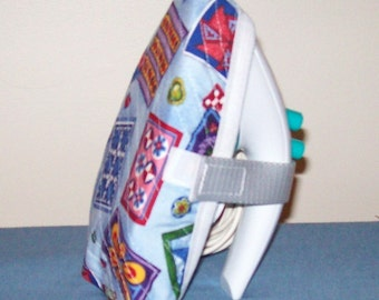 MINI Iron Cover / Travel Iron Cover / MINI Pressing Iron Cover - Machine Quilted - Colorful Quilts On Blue