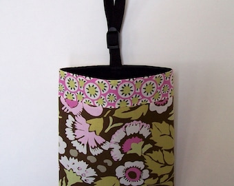 Car Litter Bag // New Stay Open Design ! // Auto Litter Bag // Auto Trash Bag // Amy Butler Deco Rose and Kaleidoscope Dots
