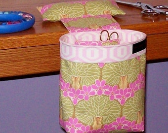 Thread Catcher, Scrap Caddy, Pincushion - Amy Butler Midwest Modern Nouveau Trees - With Rubberized Gripper Strip
