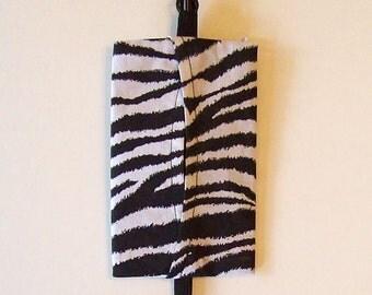 Auto Visor Tissue Caddy - Tissue Cozy - Stylish Tissue Holder For Your Car - Zebra Print