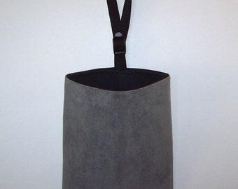 Car Litter Bag // Auto Trash Bag // Auto Litter Bag // Stay Open Design! // Ultra Suede // Gray