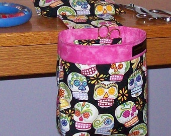 Thread Catcher // Scrap Caddy // Scrap Bag // Pincushion // With Rubberized Gripper Strip // Sugar Skulls
