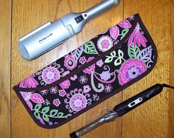 Curling Iron Case /  Flat Iron Cover for Travel or the Gym (Insulated) - Michael Miller - Boho Blossom - Orchid