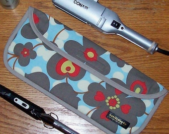 Curling Iron Case / Flat Iron Cover for Travel or the Gym (Insulated) - Amy Butler - Lotus - Morning Glory