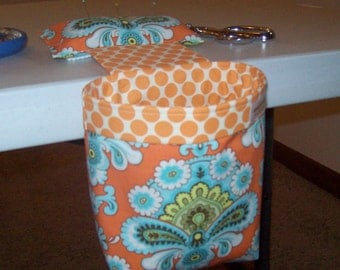 Thread Catcher, Scrap Caddy, Pin Cushion With Rubberized Gripper Strip  - Amy Butler - French Wall Paper - Tangerine