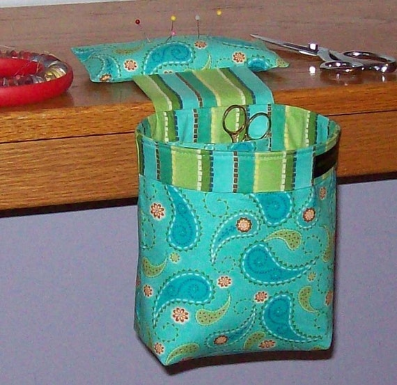 Last One - Thread Catcher, Scrap Caddy, Scrap Bag, Pin Cushion - With Rubberized Gripper Strip - Paisley Party