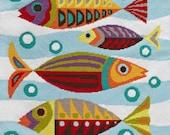 Mid-Century Fish needlepoint