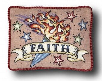 Faith Tattoo Cross Stitch Kit - small