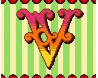 Curious Alphabet Cross Stitch kit - V