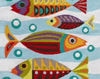 Mid-Century Fish needlepoint