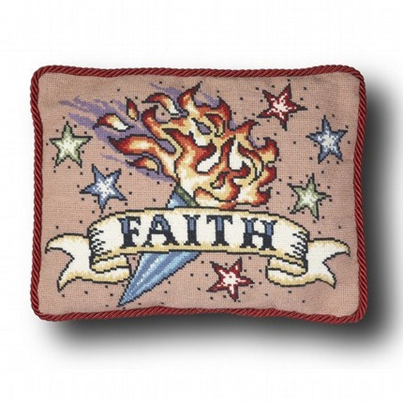 Faith Tattoo Cross Stitch Kit - small