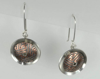Eclipse Earrings in Etched and Oxidized Copper and Sterling Silver