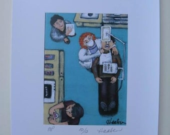 TRIP to the DENTIST  HYGIENIST Original Limited Edition  signed Print from Painting- by Ellen Haasen