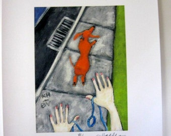 RUNAWAY DACHSHUND Signed Limited Edition  Print from Painting  by Ellen Haasen