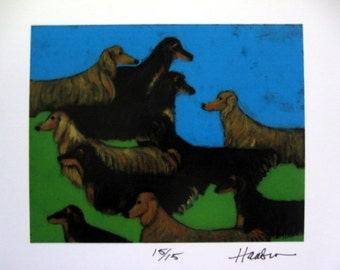 LONG-HAIRED DACHSHUNDS Wiener Dogs Assembled- Ltd. Ed. signed print  from painting by Ellen Haasen