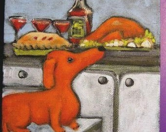 Original Signed Print from Painting-  WEE DACHSHUND'S THANKSGIVING by Ellen Haasen