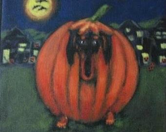 Signed  WEE DACHSHUND'S Halloween PUMPKIN Disguise from Original Painting by Ellen Haasen