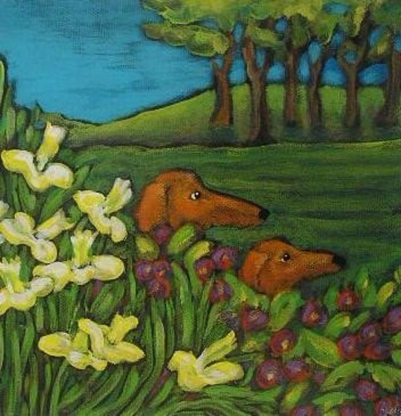 TWO DACHSHUNDS in Some Spring Flowers Wiener Dog  original signed print by  Canadian Ellen Haasen