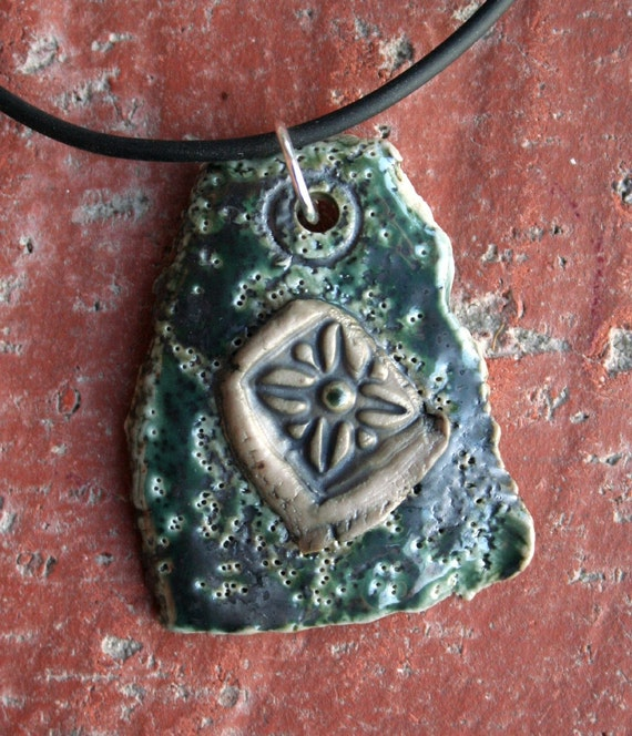 Gun Metal Green Textured Porcelain Pendant