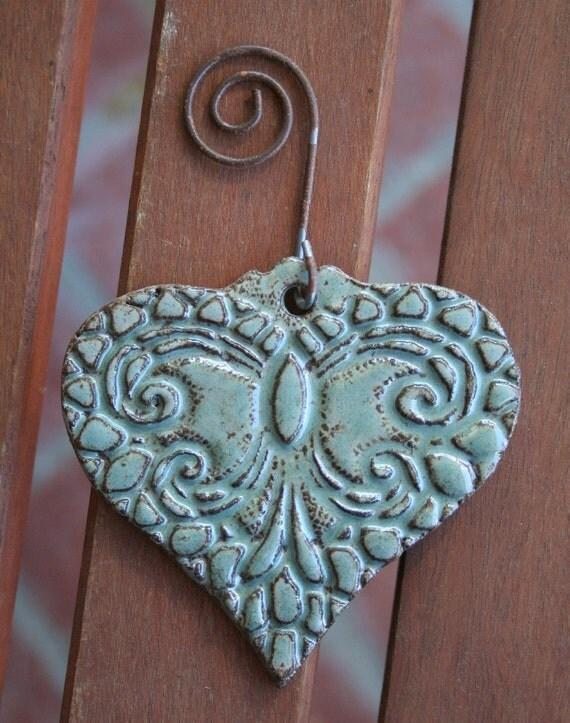 Robins Egg Blue Lace Valentine Heart Ornament