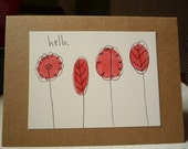 Say Hello Blank Note Card With Original Ink & Watercolor Illustration