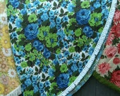 """80"""" Round vintage tablecloth with fringe"""