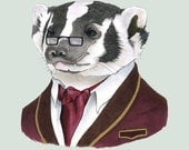 Badger art print 5x7