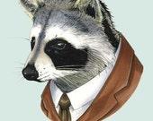 Raccoon Animal Art Print for Nursery or your Living Room by Ryan Berkley 5x7