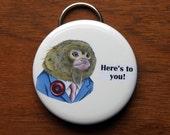 Monkey Keychain Bottle Opener - Pygmy Marmoset - Ryan Berkley Illustration