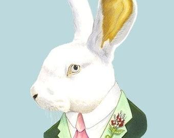 White Rabbit print 5x7