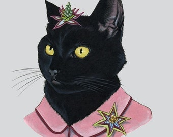 Black Cat Lady print 8x10