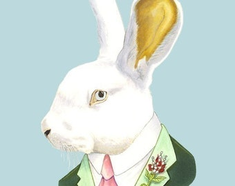 White Rabbit print 8x10