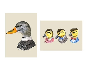 Mama Duck and Ducklings print set 5x7