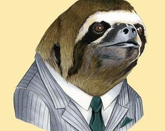 Sloth art print by Ryan Berkley Illustration 8x10