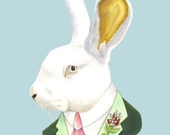 White Rabbit print 11x14
