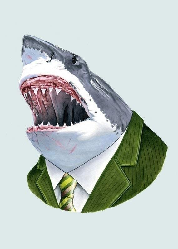 Great White Shark art print - shark art - shark print - animals in suits - unique gift - animal artwork - groomsmen gift - Ryan Berkley 5x7