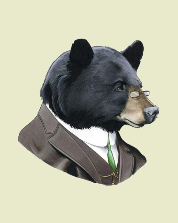 Black Bear Gentleman Woodland Art print for Kids Nursery or Fun Living Room by Ryan Berkley 8x10