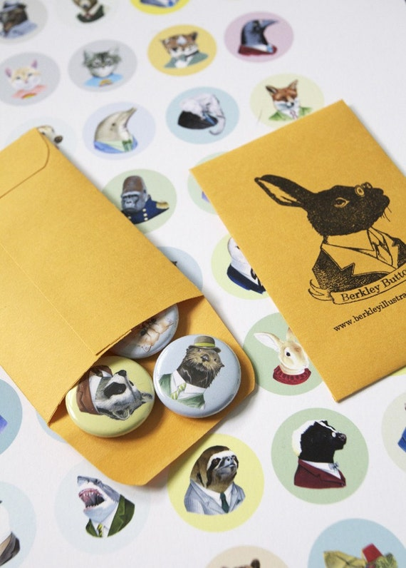 Four animal button pack - customizable