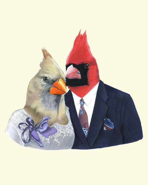 Mr and Mrs Cardinal art print 8x10