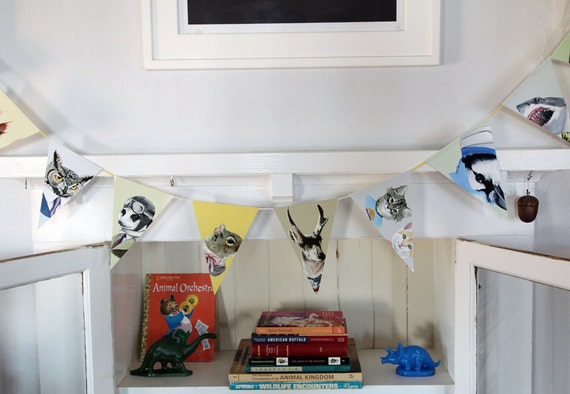 Recycled Paper Pennants - Animals in Suits