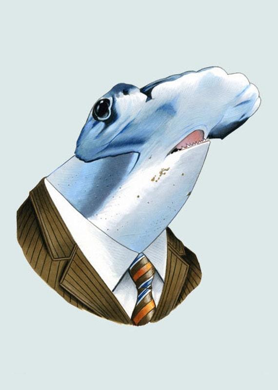 Hammerhead Shark art print 5x7