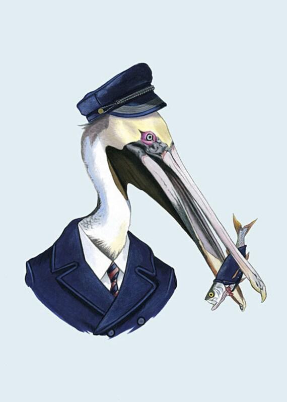 Pelican and Fish art portrait 5x7