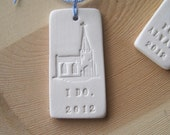 I DO. bridal bouquet text tile charm in porcelain with commemorative year 2012